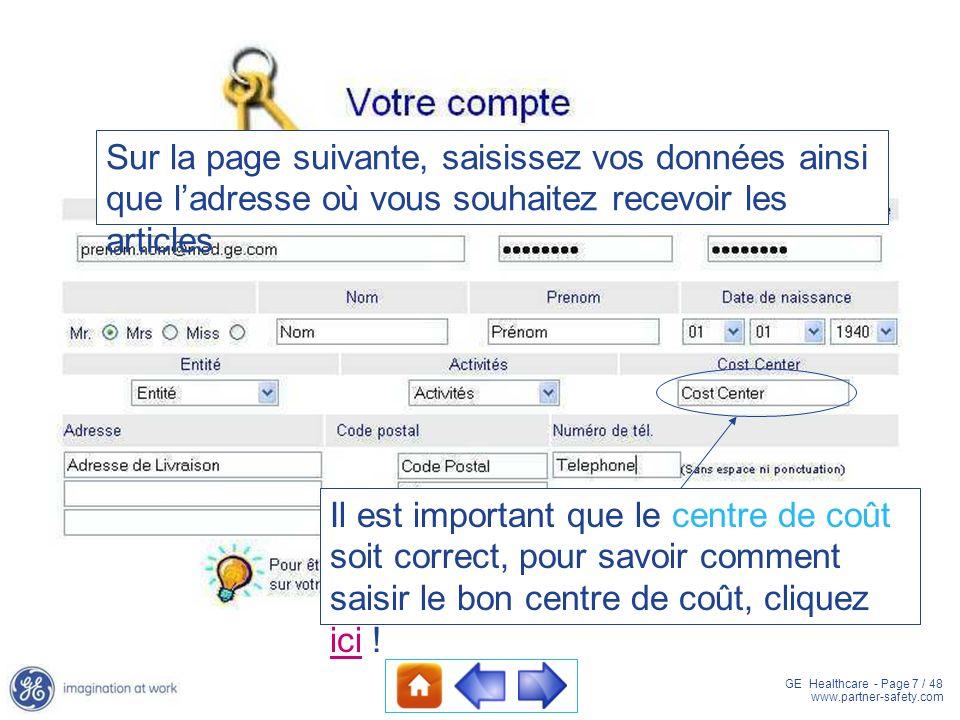 Sur la page suivante, saisissez vos données ainsi que l'adresse où vous souhaitez recevoir les articles