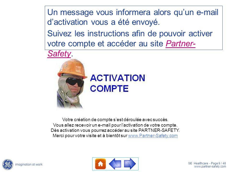 Un message vous informera alors qu'un e-mail d'activation vous a été envoyé.