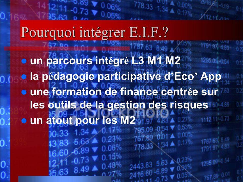 Pourquoi intégrer E.I.F. un parcours intégré L3 M1 M2