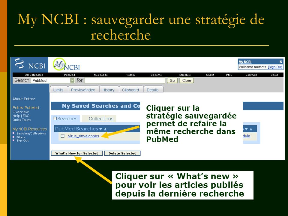 My NCBI : sauvegarder une stratégie de recherche