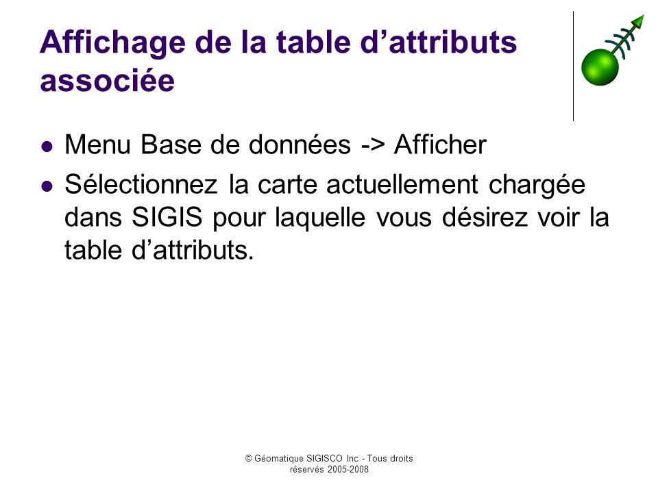 Affichage de la table d'attributs associée
