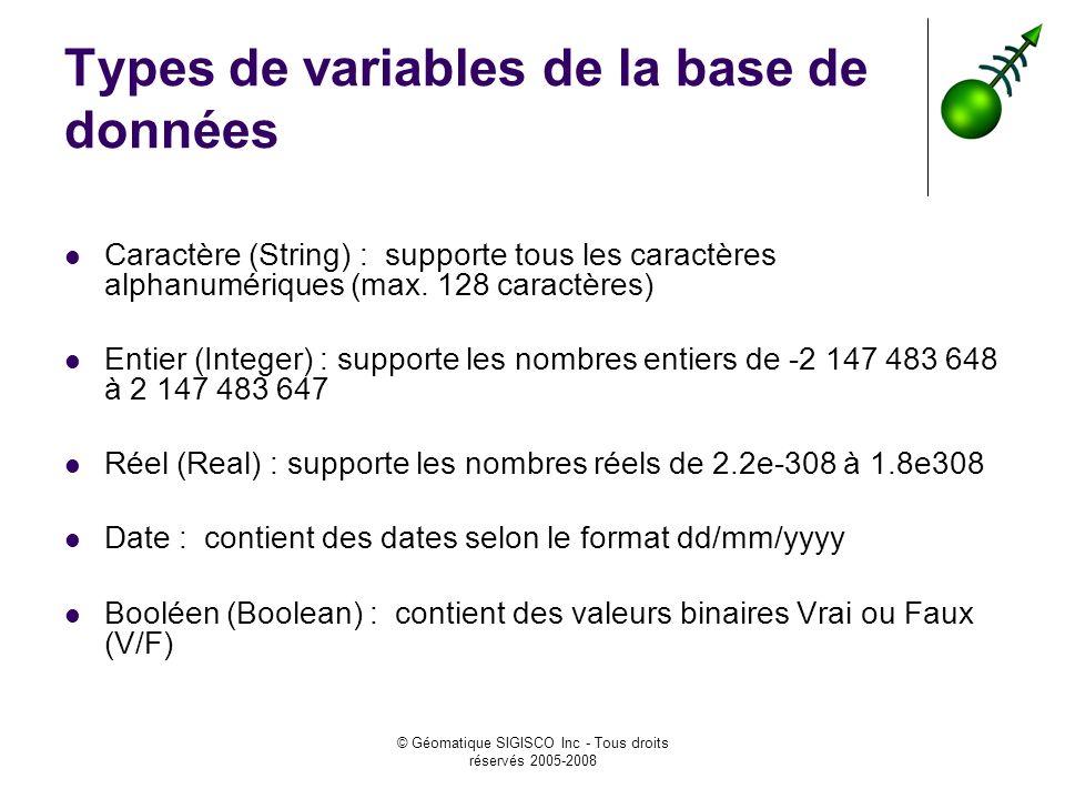 Types de variables de la base de données