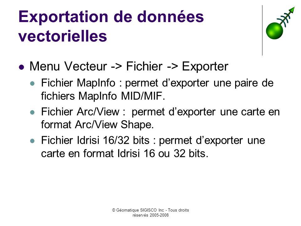 Exportation de données vectorielles