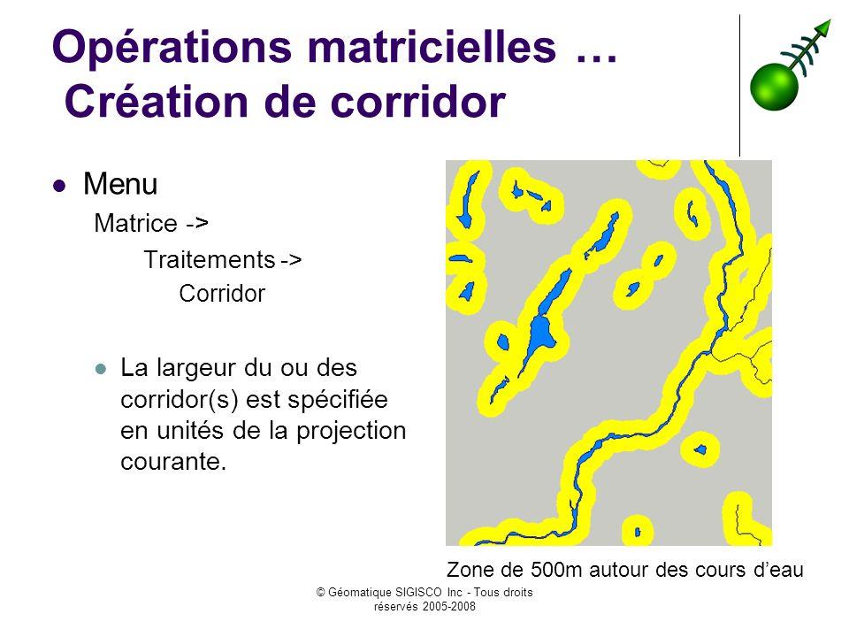 Opérations matricielles … Création de corridor