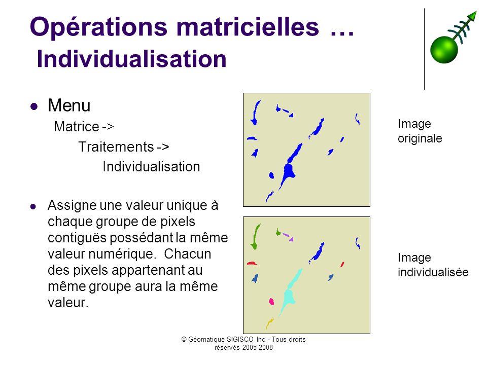 Opérations matricielles … Individualisation