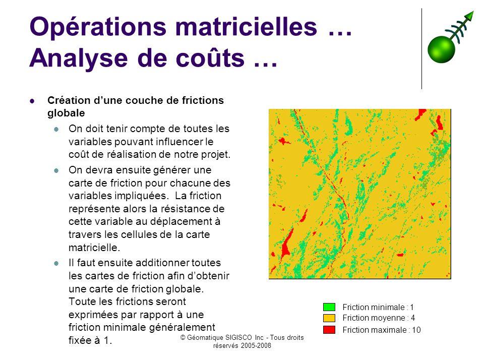 Opérations matricielles … Analyse de coûts …