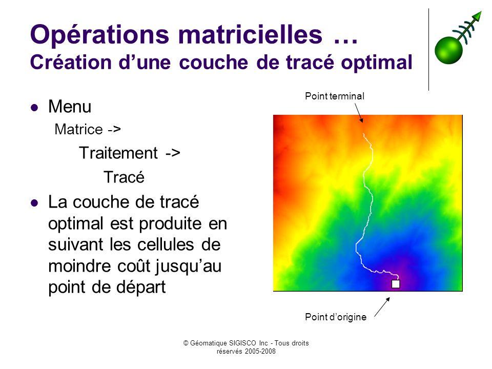 Opérations matricielles … Création d'une couche de tracé optimal