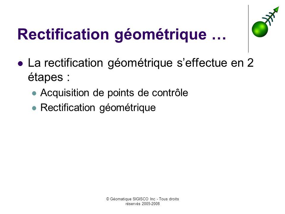 Rectification géométrique …