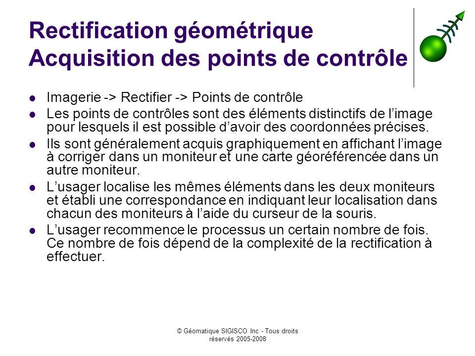 Rectification géométrique Acquisition des points de contrôle