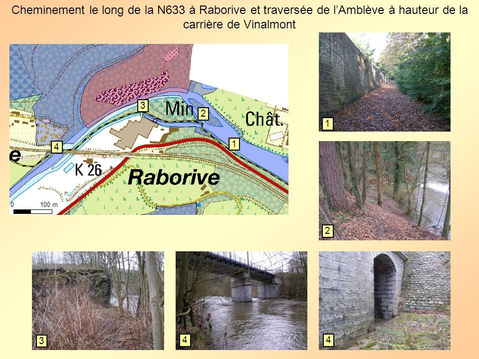 Cheminement le long de la N633 à Raborive et traversée de l'Amblève à hauteur de la carrière de Vinalmont