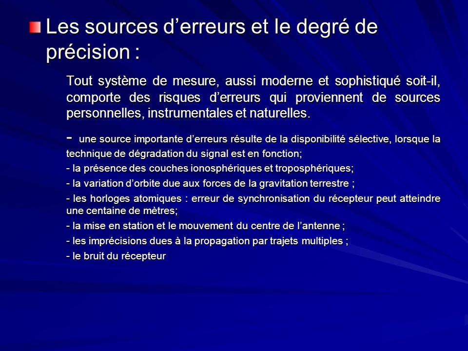 Les sources d'erreurs et le degré de précision :