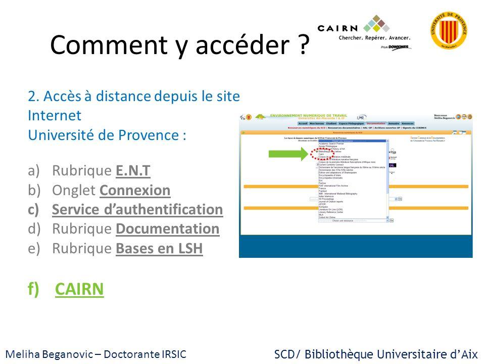 Comment y accéder CAIRN 2. Accès à distance depuis le site Internet