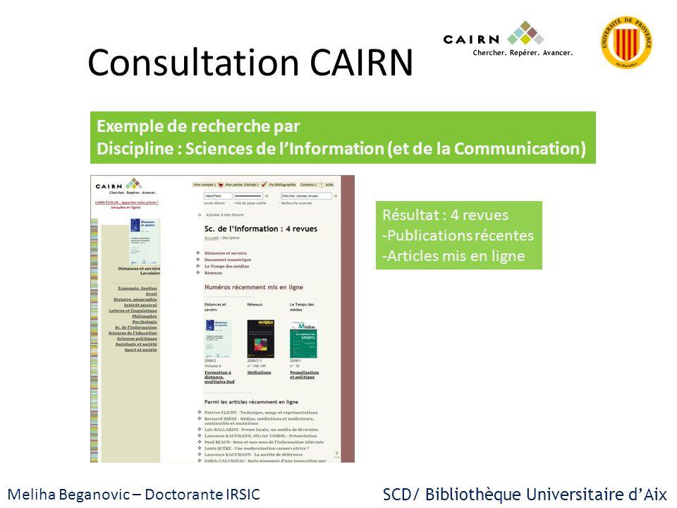 Consultation CAIRN Exemple de recherche par