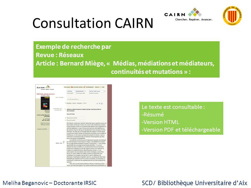 Consultation CAIRN Exemple de recherche par Revue : Réseaux