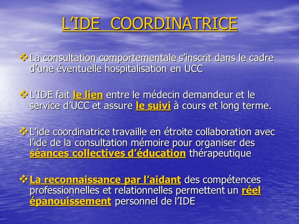 L'IDE COORDINATRICE La consultation comportementale s'inscrit dans le cadre d'une éventuelle hospitalisation en UCC.