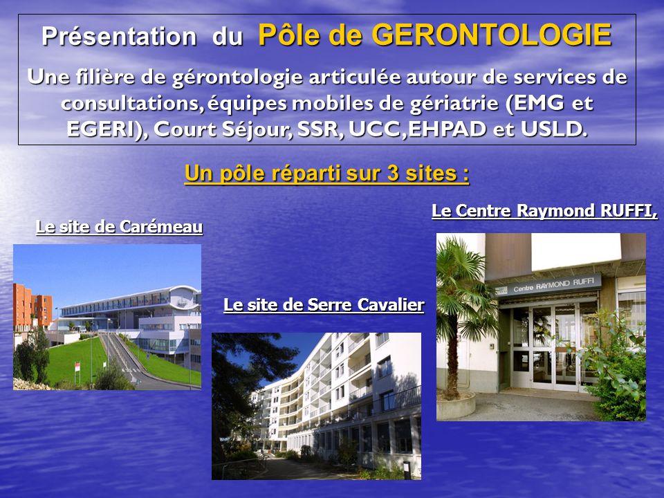 Présentation du Pôle de GERONTOLOGIE Un pôle réparti sur 3 sites :