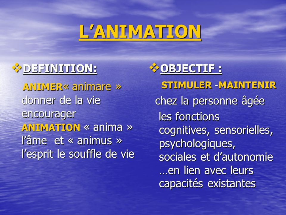 L'ANIMATION DEFINITION: ANIMER« animare » donner de la vie encourager ANIMATION « anima » l'âme et « animus » l'esprit le souffle de vie.