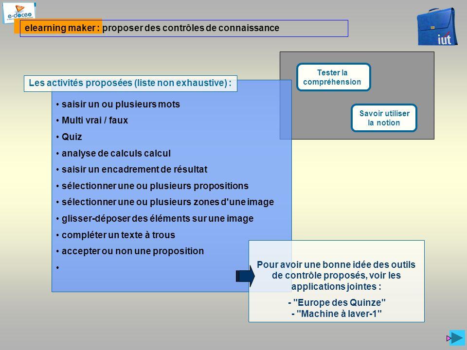 elearning maker : proposer des contrôles de connaissance