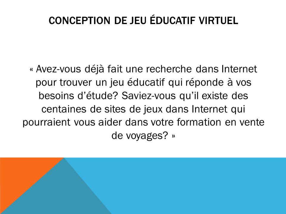 CONCEPTION DE JEU ÉDUCATIF VIRTUEL