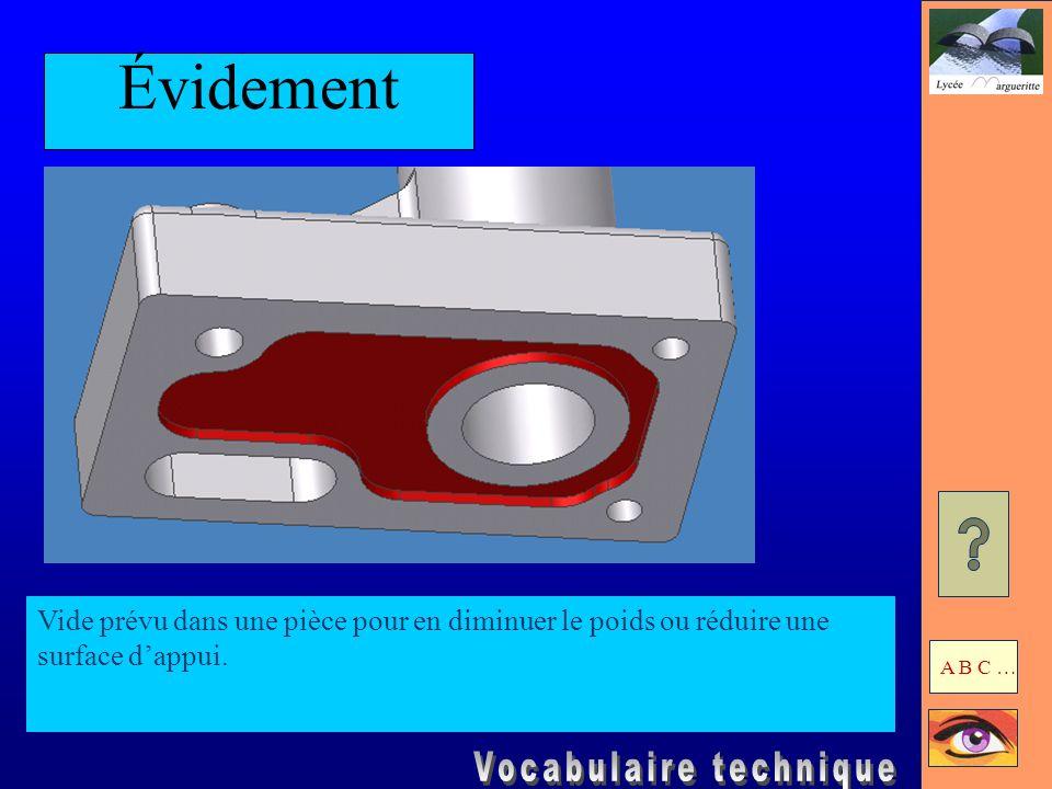 Évidement Vide prévu dans une pièce pour en diminuer le poids ou réduire une surface d'appui.