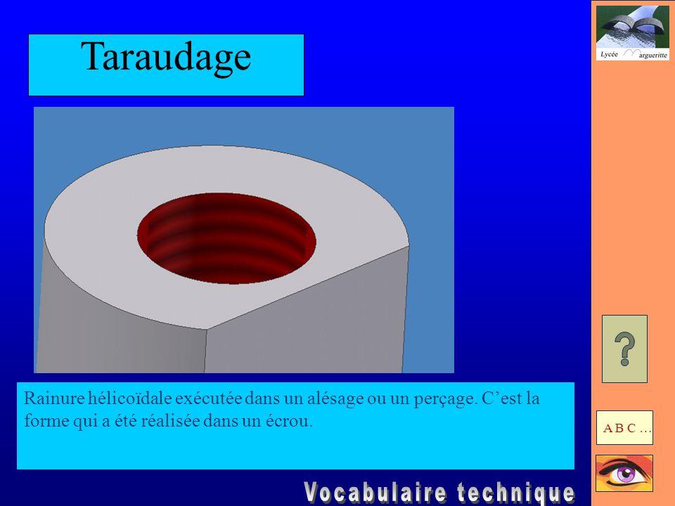Taraudage Rainure hélicoïdale exécutée dans un alésage ou un perçage. C'est la forme qui a été réalisée dans un écrou.