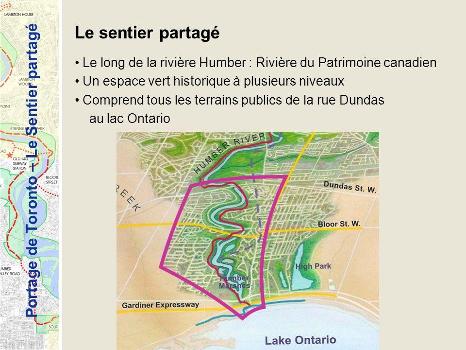 Le sentier partagé Le long de la rivière Humber : Rivière du Patrimoine canadien. Un espace vert historique à plusieurs niveaux.