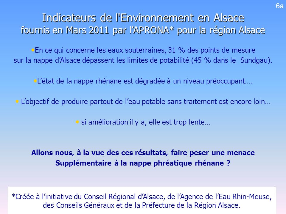 6a Indicateurs de l Environnement en Alsace fournis en Mars 2011 par l'APRONA* pour la région Alsace.