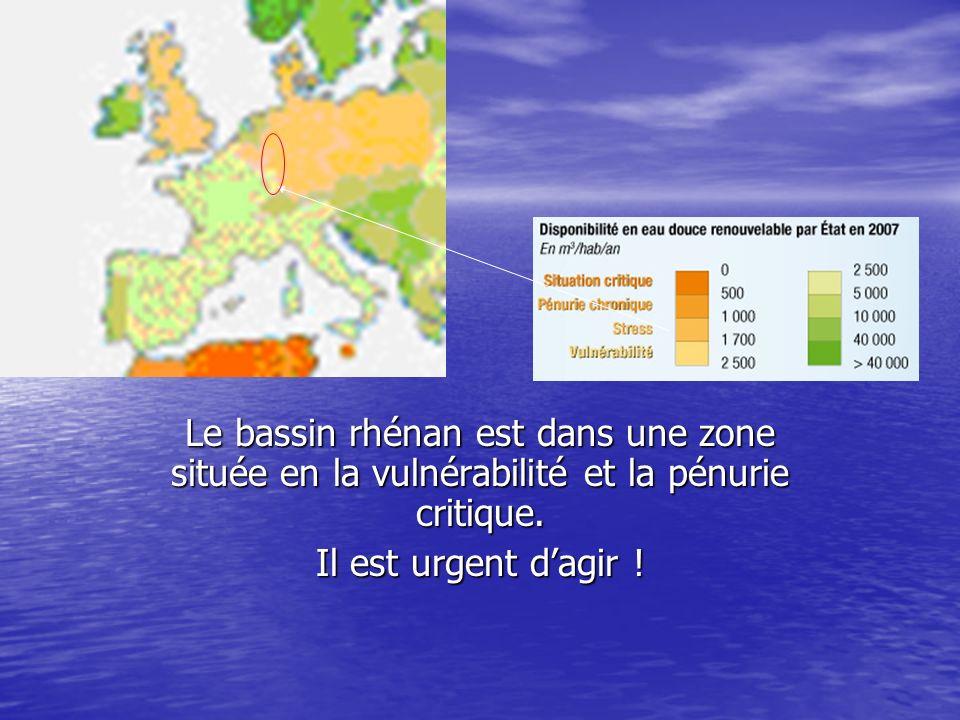 Le bassin rhénan est dans une zone située en la vulnérabilité et la pénurie critique.
