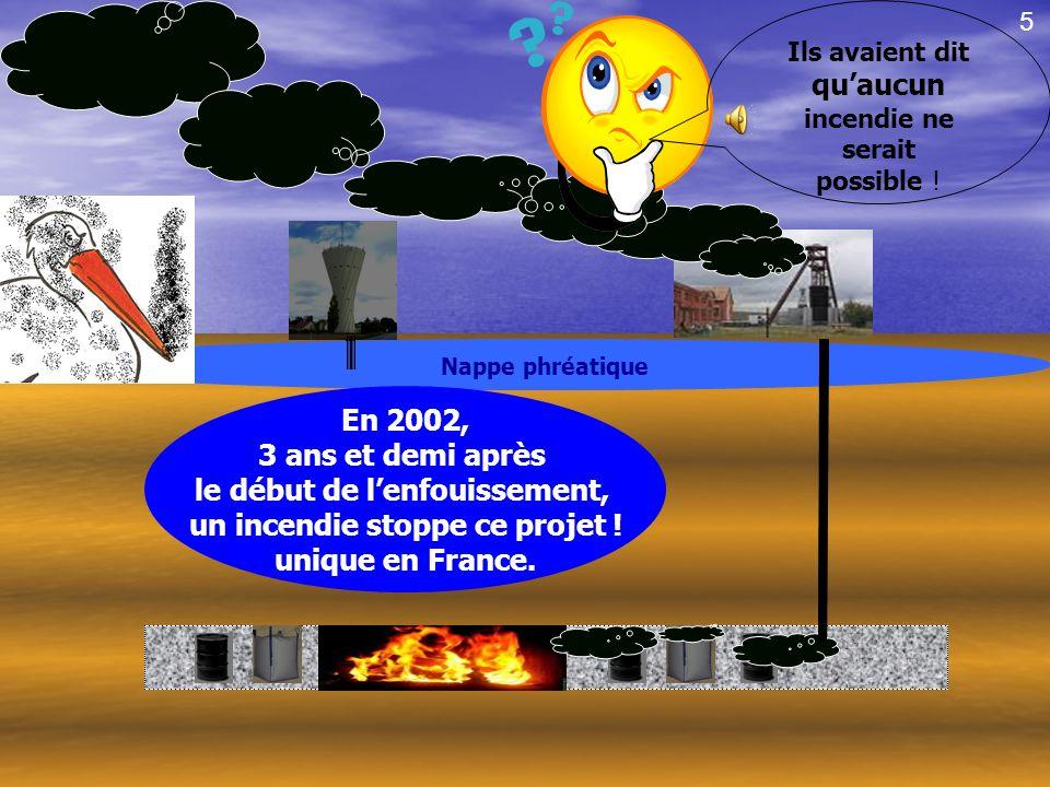 le début de l'enfouissement, un incendie stoppe ce projet !