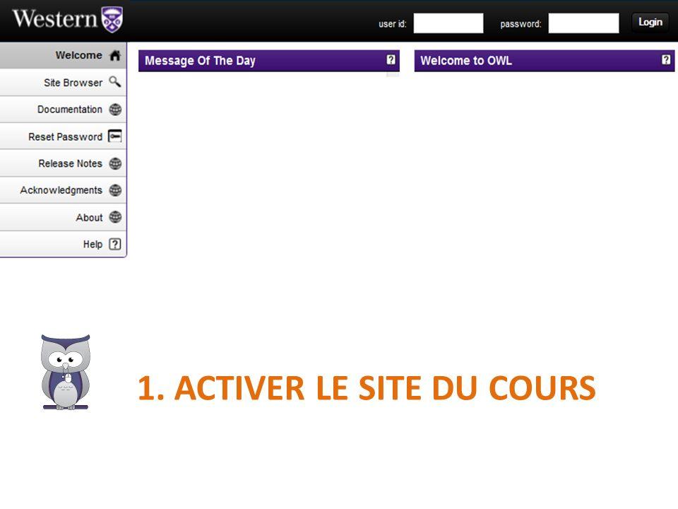 1. Activer le site du cours