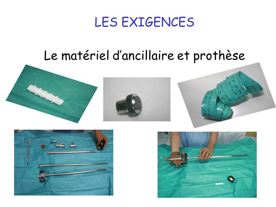 LES EXIGENCES Le matériel d'ancillaire et prothèse