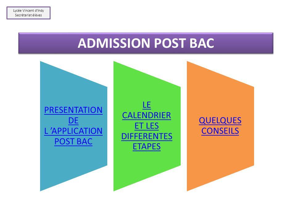 ADMISSION POST BAC Lycée Vincent d'Indy Secrétariat élèves