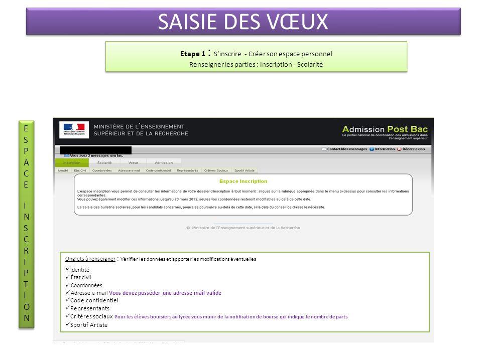 SAISIE DES VŒUX ESPACE INSCRIPTION