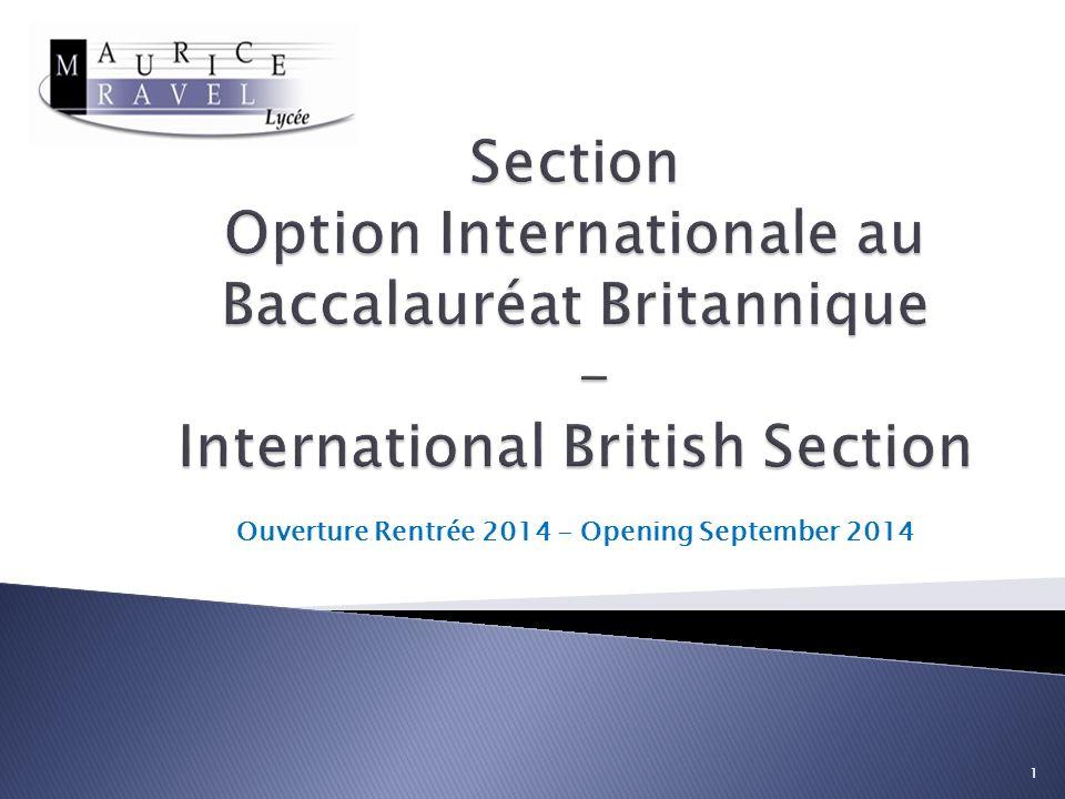 Ouverture Rentrée 2014 - Opening September 2014