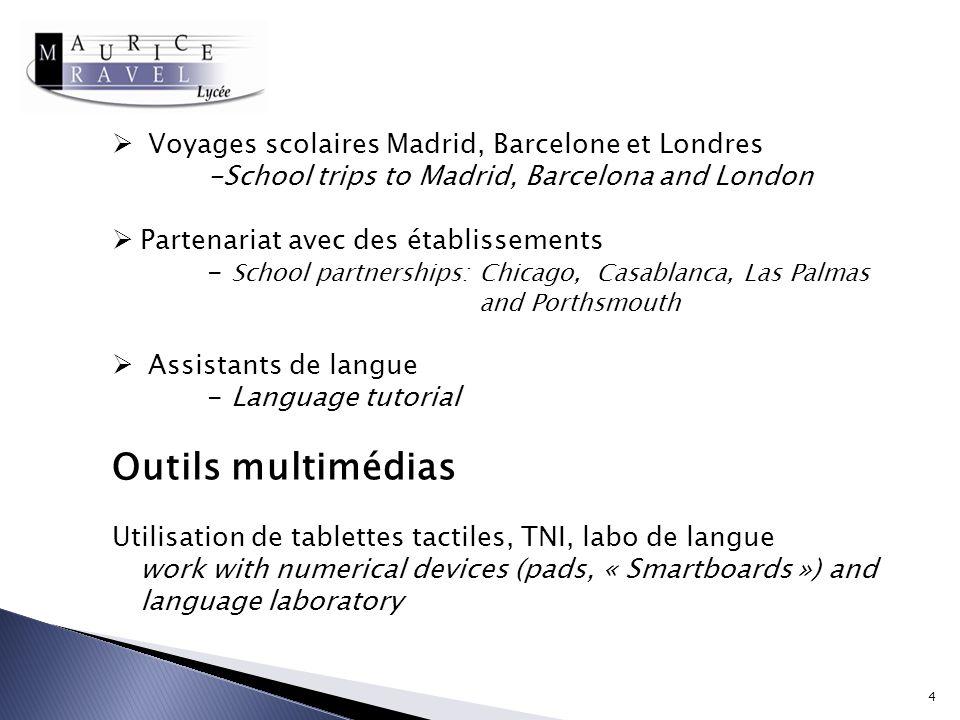 Outils multimédias Voyages scolaires Madrid, Barcelone et Londres