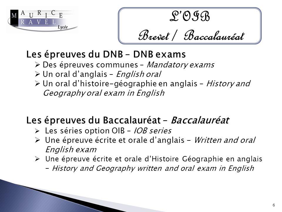L'OIB Brevet / Baccalauréat
