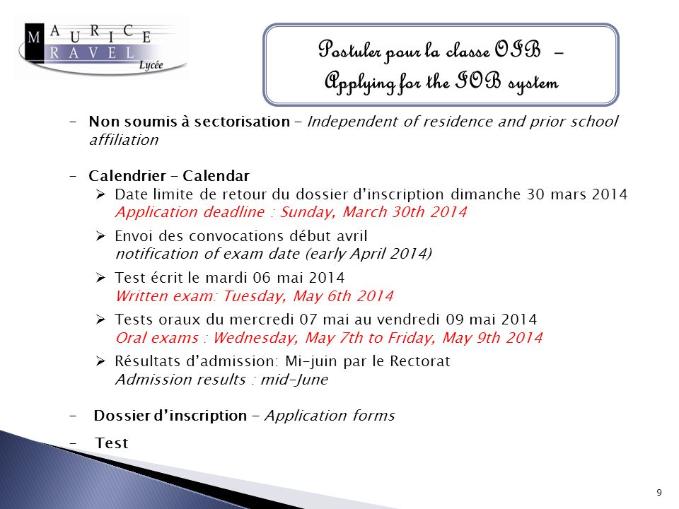 Postuler pour la classe OIB – Applying for the IOB system