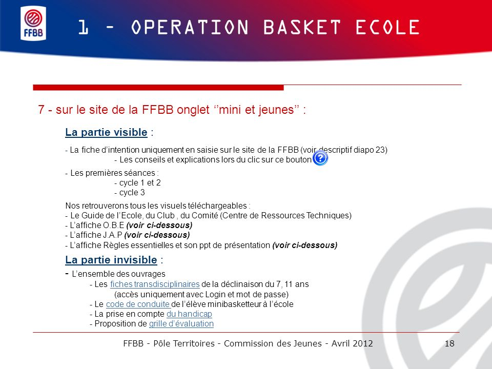 1 – OPERATION BASKET ECOLE