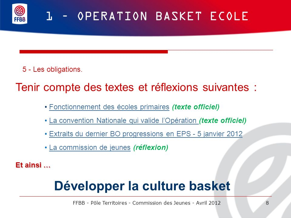 Développer la culture basket