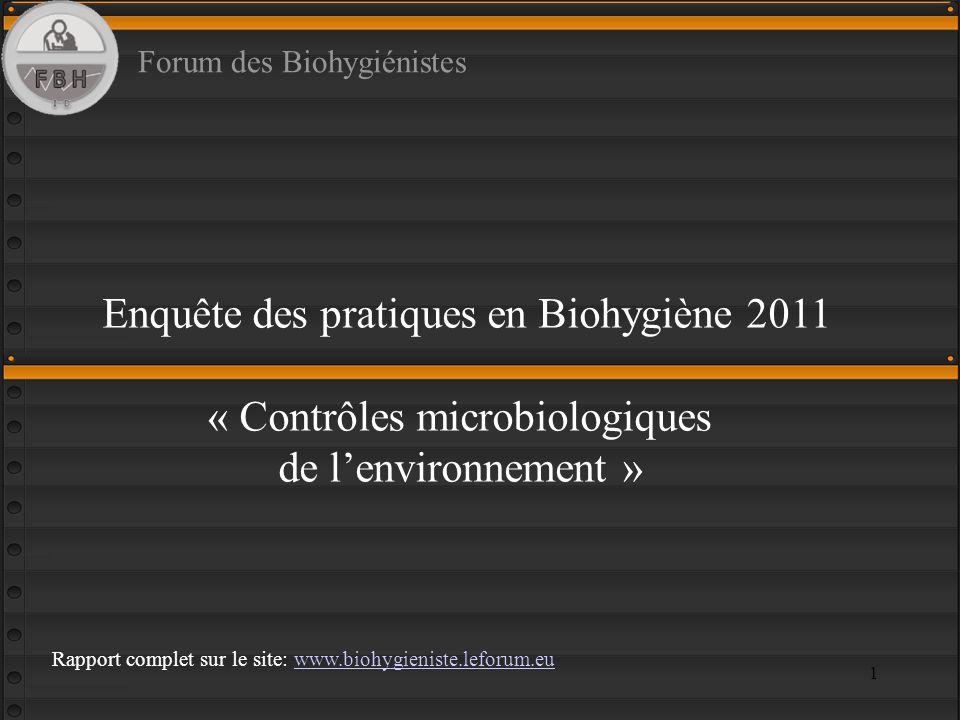 Enquête des pratiques en Biohygiène 2011 « Contrôles microbiologiques