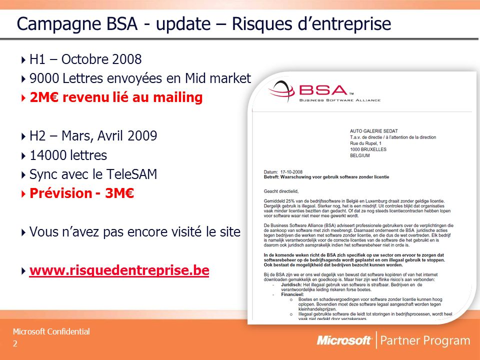 Campagne BSA - update – Risques d'entreprise