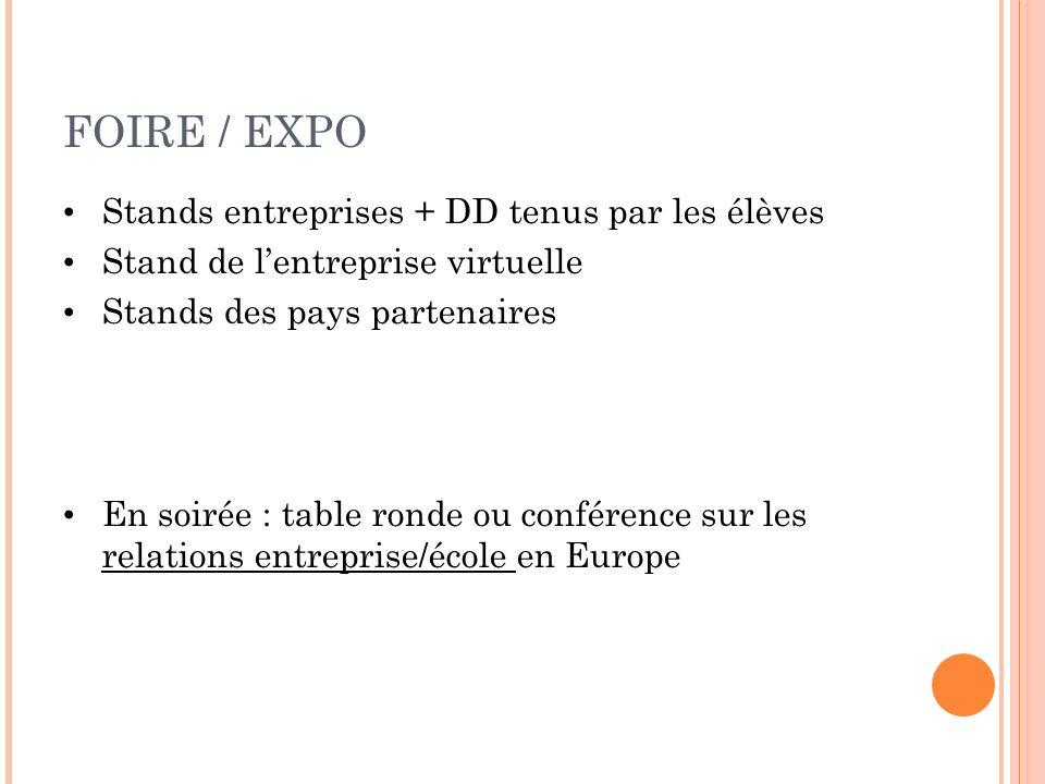FOIRE / EXPO Stands entreprises + DD tenus par les élèves
