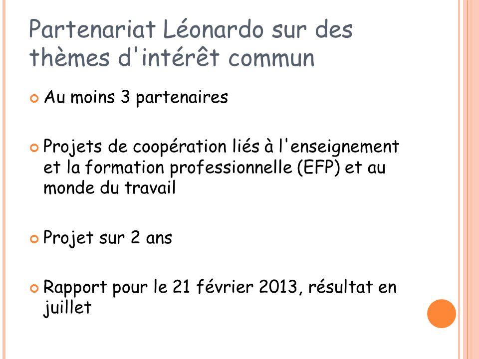 Partenariat Léonardo sur des thèmes d intérêt commun