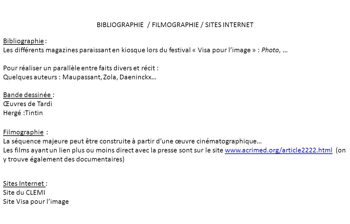 BIBLIOGRAPHIE / FILMOGRAPHIE / SITES INTERNET