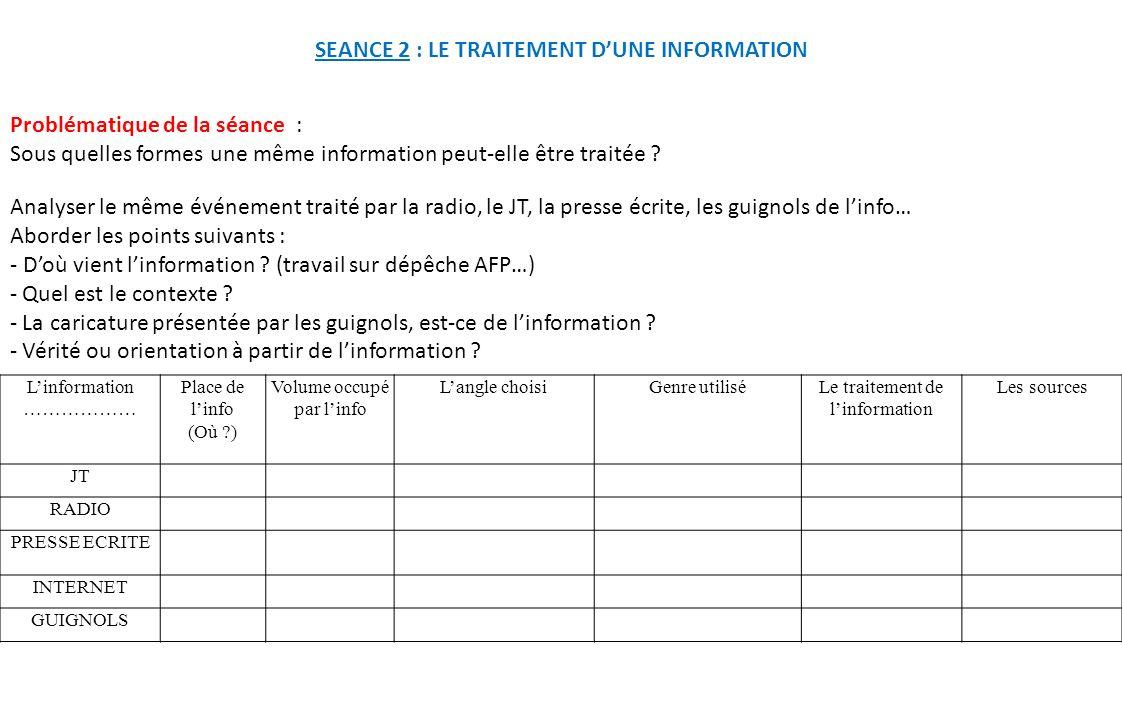 SEANCE 2 : LE TRAITEMENT D'UNE INFORMATION