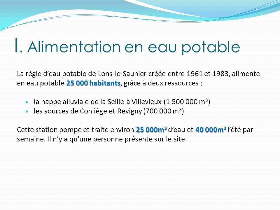 I. Alimentation en eau potable