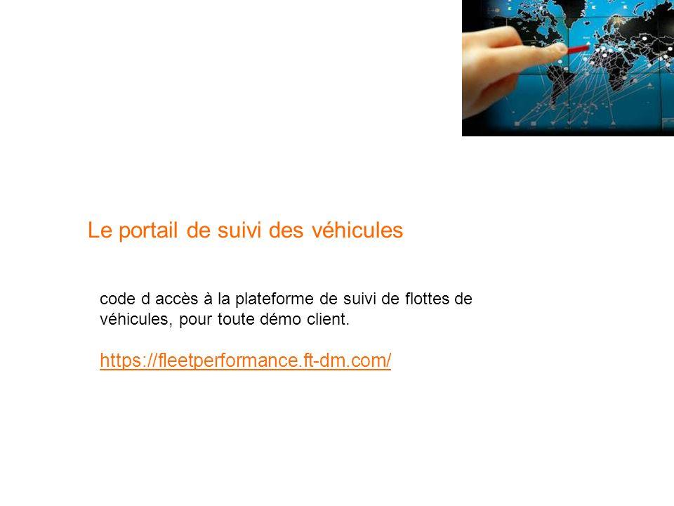 Le portail de suivi des véhicules
