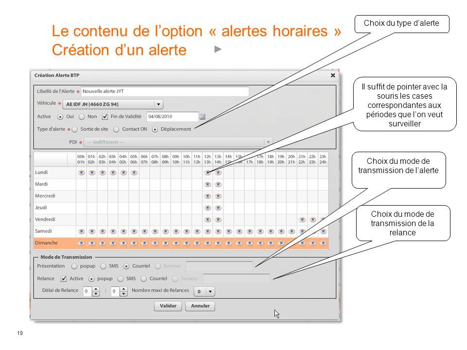 Le contenu de l'option « alertes horaires » Création d'un alerte