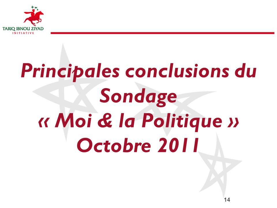 Principales conclusions du Sondage « Moi & la Politique » Octobre 2011