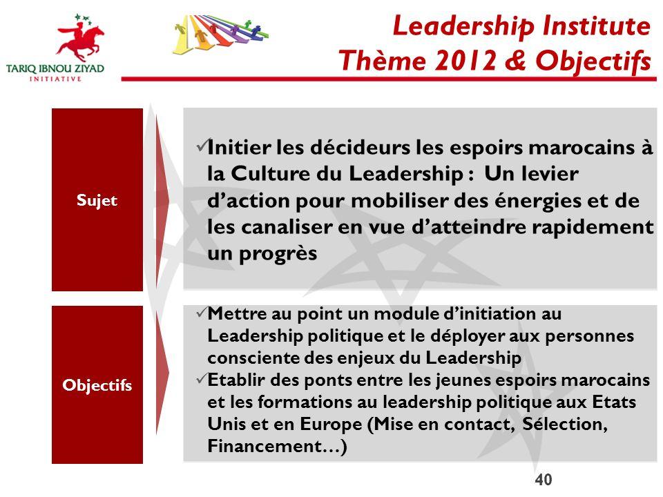 Leadership Institute Thème 2012 & Objectifs